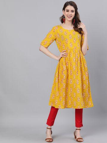 ANTARAN   Antaran Women A-line Yellow Dress