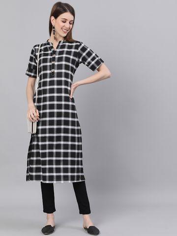 ANTARAN | Checkered Straight Kurta