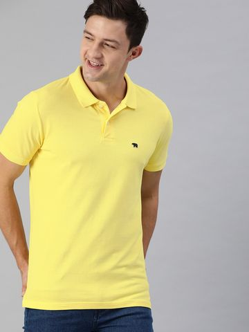 The Bear House | Yellow Solid Polo T-Shirt