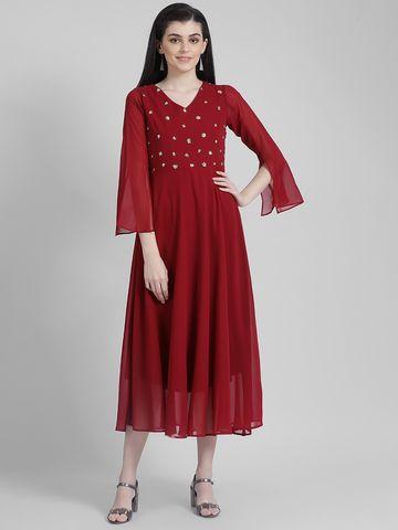 Zink London   Zink London Maroon Solid Maxi Dress for Women