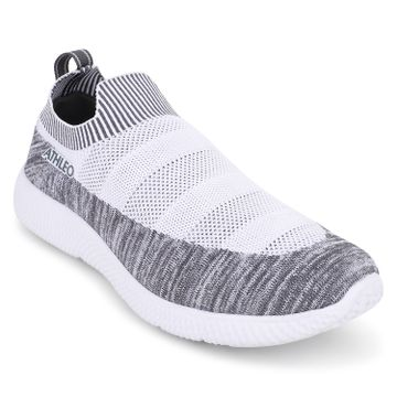 ATHLEO by Action   Action ATHLEO by Men Fabric  Synthetic Sports Running Shoes (White L Grey)