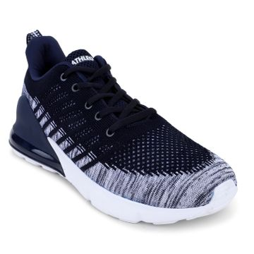 ATHLEO by Action   Action ATHLEO by Men Fabric Sports Running Shoes (White Navy)