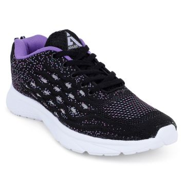 ATHLEO by Action | ATHLEO by Action Fabric Women Sports Running Shoes (Black Purple)