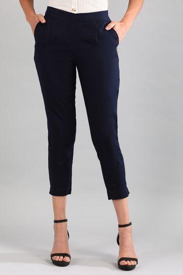 Aurelia | Navy Solid Trousers