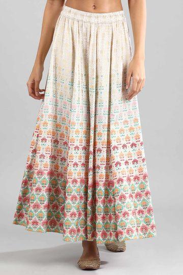Aurelia | Off-White Printed Skirt