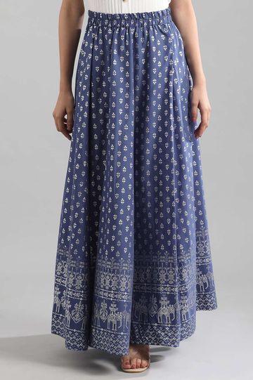 Aurelia | Blue Printed Skirt
