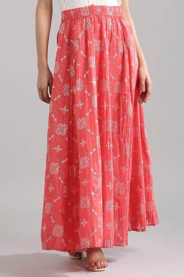 Aurelia   Coral Printed Skirt