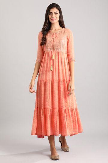 Aurelia | Peach Round Neck Printed Dress