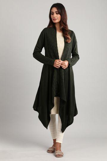 Aurelia   Olive green Shawl Collar Sweater