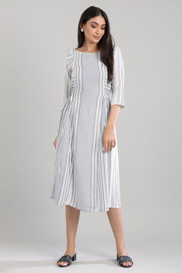 Aurelia | Blue Round Neck Yarn-dyed Dress