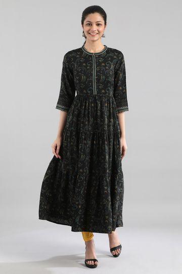 Aurelia | Black Printed Tiered Kurta