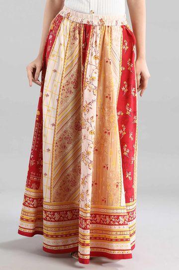 Aurelia | Red Printed Flared Skirt
