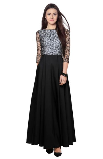 POONAM TEXTILE | Classy White Black Party Wear Lace Crepe Readymade Gown