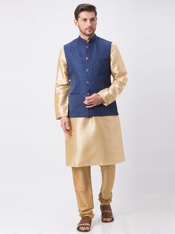 Ethnicity | Ethnicity Polyester Blend Straight Full Sleeve Men Navy Jackets