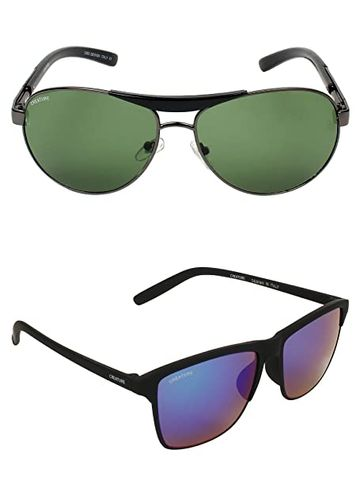 CREATURE | CREATURE Green & Multicolour Aviator Sunglasses Combo with UV Protection (Lens-Brown & Multicolour|Frame-Grey & Black)