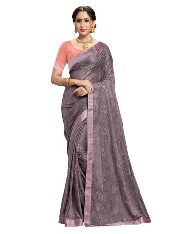 SATIMA | Designer Wine Lycra Self-Design LACE Saree