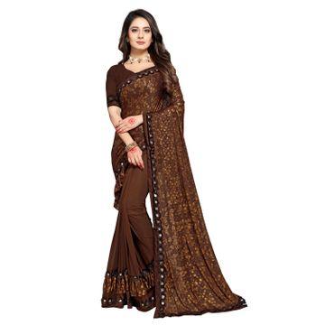 SATIMA   Women Designer Brown Lycra Blend Printed Saree