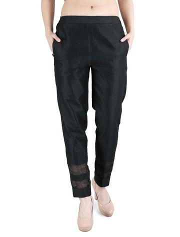 DEVS AND DIVAS | DEVS AND DIVAS Black Stripe Silk Pant for Women