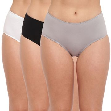 BASIICS by La Intimo | Tease 2 Please Hipster/ Full Brief Black-White-Grey (Pack of 3)