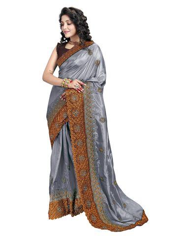 SATIMA | Designer Grey Silk Blend Self-Design Embroidered Saree