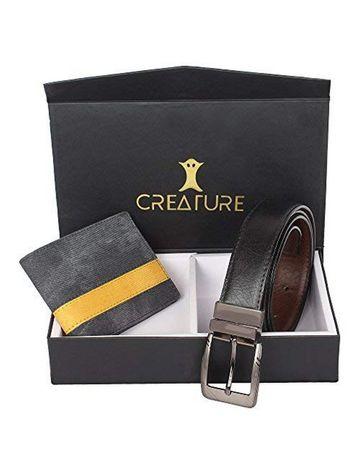 CREATURE | CREATURE Combo of Blue Denim Wallet for Men and Black-Brown Reversible Belt for Men