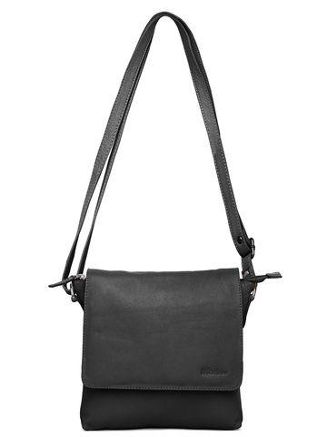 WildHorn   WildHorn Upper Grain Genuine Leather Ladies Sling, Cross-body, Hand Bag with Adjustable Strap - Black