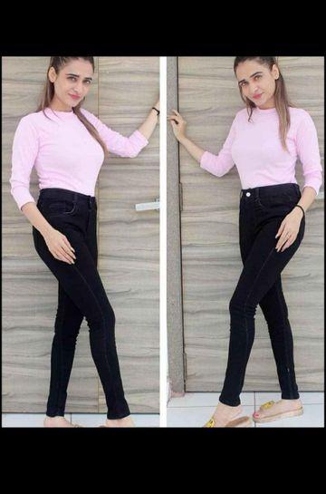 SIMARAA FAB | Simaraa Fab Black denim fit High rise jeans