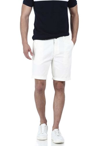 Basics | Basics Comfort Fit White Garment Dyed Knee Length Shorts