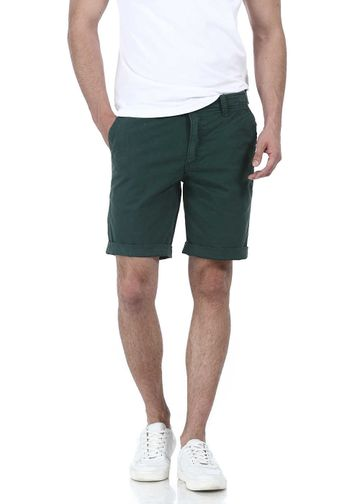 Basics | Basics Comfort Fit Green Garment Dyed Knee Length Shorts