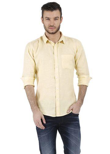Basics | Basics Essential Slim Fit Yellow Chambray Linen Shirt
