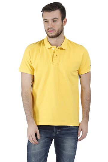 Basics | Basics Casual Plain Yellow Cotton Muscle T.Shirt