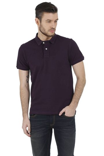 Basics | Basics Muscle Fit Purple Piqu Polo T-Shirt
