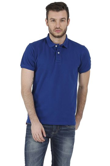 Basics | Basics Muscle Fit Blue Piqu Polo T-Shirt