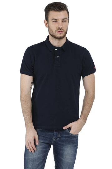Basics | BASICS CASUAL PLAIN NAVY 100% COTTON MUSCLE T.SHIRT