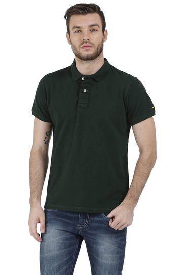 Basics   Basics Muscle Fit Dark-Green Piqu Polo T-Shirt