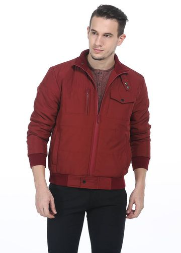 Basics | Basics Comfort Fit Oxblood Red Long Sleeve Polyfill Jacket