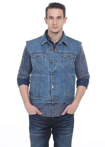 Basics | Basics Slim Fit Blue Infinity denim Sleeveless  Jacket