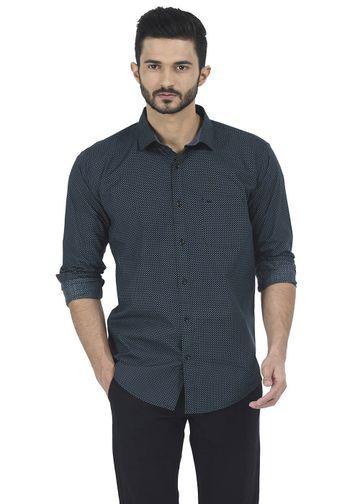 Basics | Basics Slim Fit Fern Green Printed Shirt