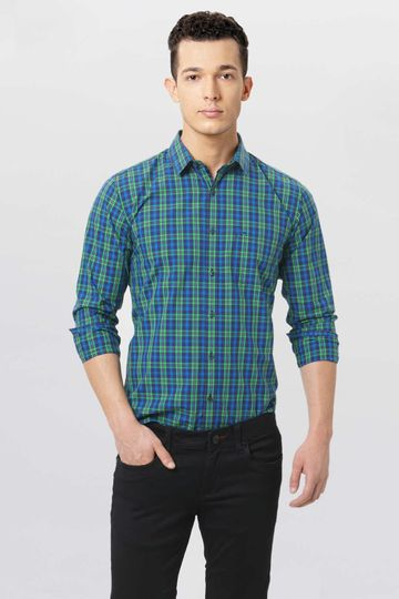 Basics | Basics Slim Fit Fern Green Checks Shirt