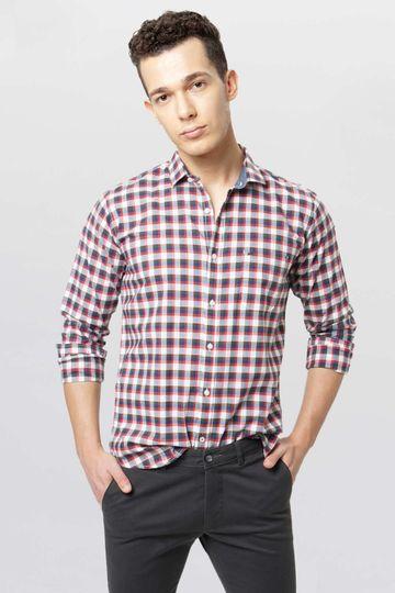 Basics   Basics Slim Fit Baked Apple Checks Shirt