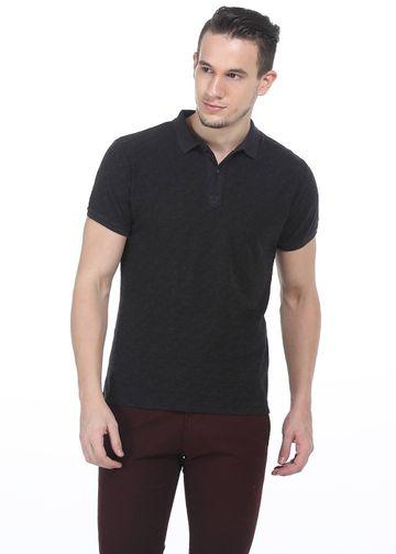 Basics   Basics Muscle Fit Iron Grey Printed Polo T shirt