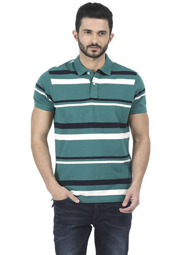 Basics | Basics Muscle Fit Alpine Green Striped Polo T Shirt
