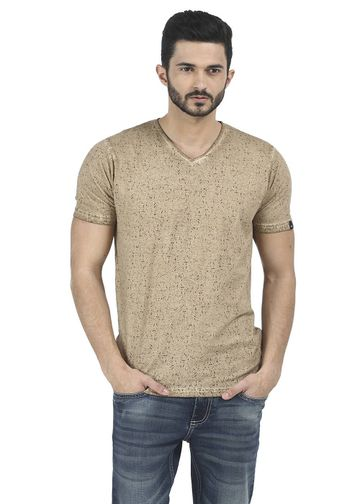 Basics | Basics Muscle Fit Chocolate Brown Printed V Neck T Shirt