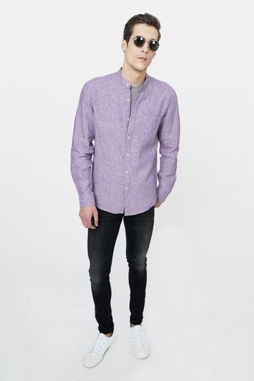 Basics | Basics Slim Fit Purple Linen Shirt
