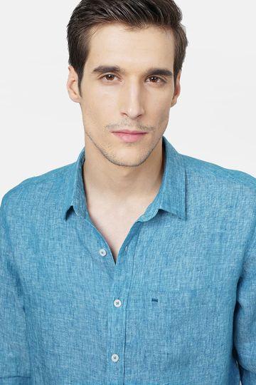 Basics | Basics Slim Fit Turquoise Linen Shirt