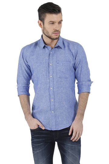 Basics | Basics Slim Fit Blue Chambray Linen Shirt
