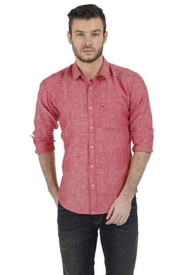 Basics | Basics Slim Fit Red Chambray Linen Shirt