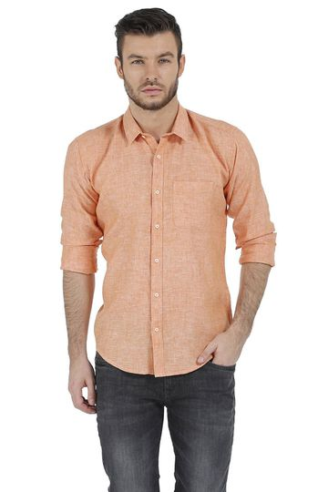 Basics | Basics Slim Fit Orange Chambray Linen Shirt