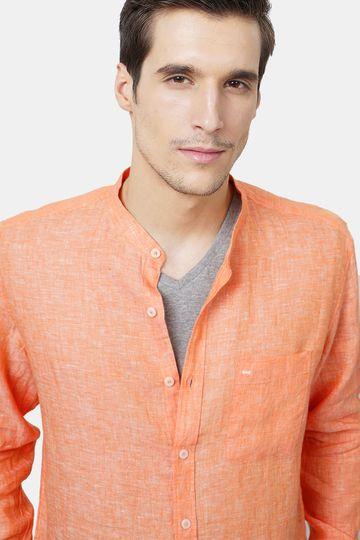 Basics | Basics Slim Fit Orange Linen Shirt