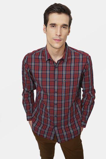 Basics   Basics Slim Fit Scarlet Sage Red Checks Shirt